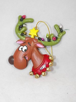 Cupid Reindeer with Light Decorated Antlers Christmas Tree Ornament new holiday
