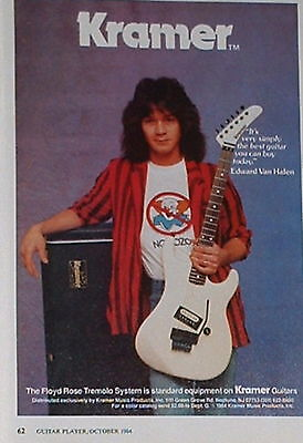 1984 Edward Van Halen of Van Halen plays a Kramer guitar photo print Ad