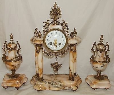 French Antique Gilt Metal & Marble Bracket Mantel Clock Garniture Set : Working