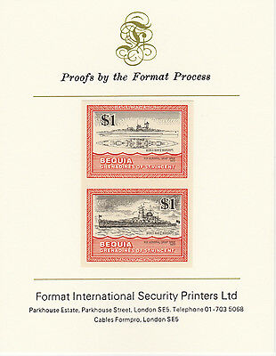 Bequia (2073) - 1985 Warships of WW2 $1  imperf on Format Int PROOF  CARD