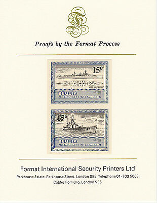 Bequia (2075) - 1985 Warships of WW2 15c  imperf on Format Int PROOF  CARD