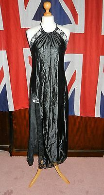 VINTAGE C 70s SPINNEY NYLON GLOSSY BLACK LONG NIGHTDRESS GOWN WMS 34/35""