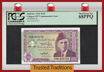 "Tt Pk 44 1997  Pakistan 5 Rupees ""commemorative"" Pcgs 68 Ppq Superb Gem New!"