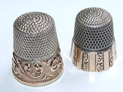 TWO 14K & Silver Thimbles Ketcham McDougall c1890 & Stern Brothers c1910