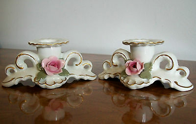 Vintage Pair of Dresden Floral Candle Holders, Crown mark