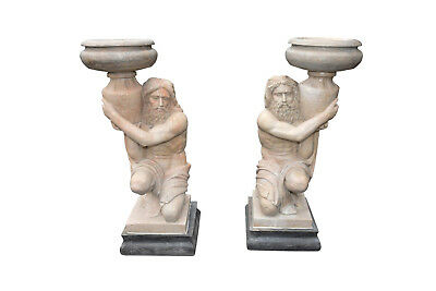 Matching Pair of Marble Statuary, Atlas Man Holding Urn, Close Out Pricing