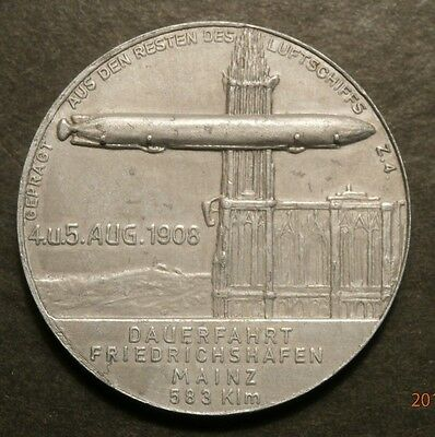 1908 Zeppelin Lz-4 Over Strassburg Relic Medal Made From Wreckage C452