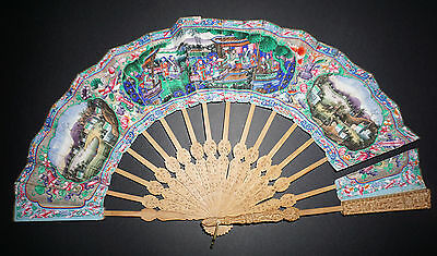 Antique Chinese Carved Sandal Wood Hand Painted Figural Scene Telescopic Fan