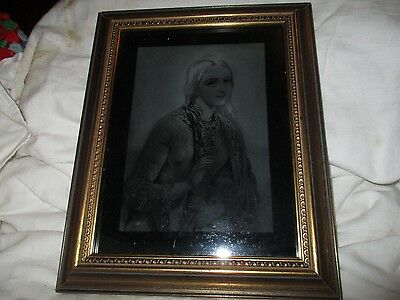 Victorian Engraving Etched On Glass Framed Picture Example  Two