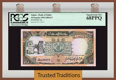 "Tt Pk 46 1991 Southernsudan 10 Pounds ""great Note"" Pcgs 68 Ppq Superb Gem New!"