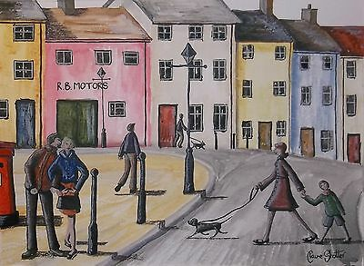 Original Landscape Painting By Claire Shotter. Streets. Dogs. People. Wales