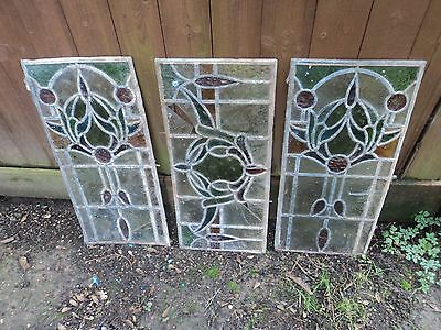 Vintage Early Coloured/stained Glass Decorative Feature/window Panels (Set Of 3)