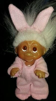 Vintage 1985 Pink Baby Easter Bunny DAM Troll