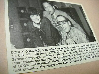 DONNY OSMOND w/ music execs in New York original vintage music biz promo pic/txt