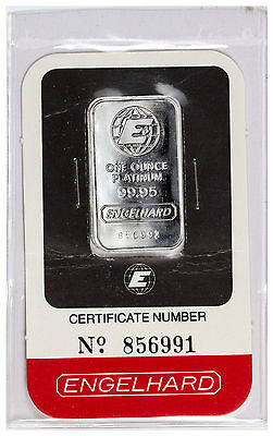 Engelhard 1 oz Platinum Bar (New Sealed With Assay Certificate) SKU27616