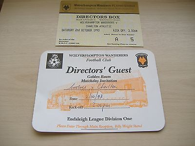 Wolves v Charlton Athletic, 2/10/1993, Directors Box Ticket +Extra.