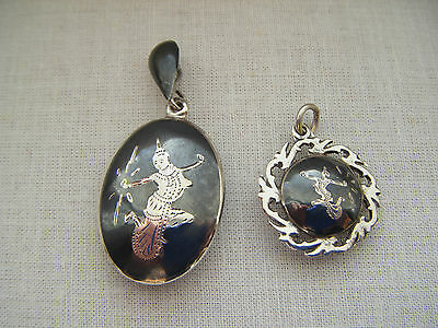 Vintage silver two Thailand Niello pendants Sterling 925