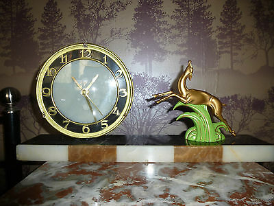 French Art Deco Marble & Spelter Leaping Deer Clock