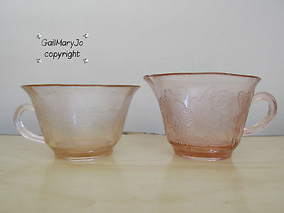 "PINK McBETH-EVANS DOGWOOD ""APPLE BLOSSOM"" WILD ROSE CUP AND CREAMER PITCHER"