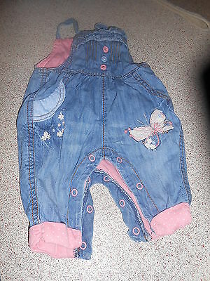 Next Baby Girl Up To 1 Month Blue Dungarees (Ex Cond)