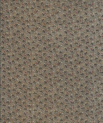 Antique 1875 Olive with Red & Yellow Prints Fabric