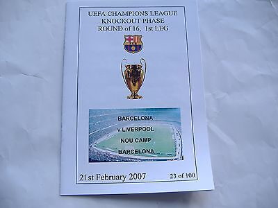 Barcelona v Liverpool, Champions League, 21/2/2007.  Limited Edition Programme