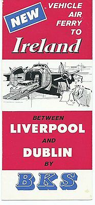 BKS Air Transport Liverpool-Dublin Vehicle Ferry Airline Timetable 1960