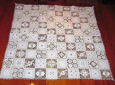 """White Vintage Pieced & Embroidered 36"""" Square Tablecloth Pulled Thread, Crochet"""