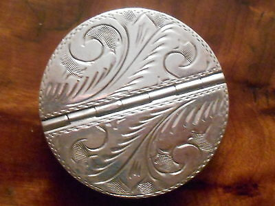 Two Compartment Engraved Silver Hallmarked 925 Pill Box