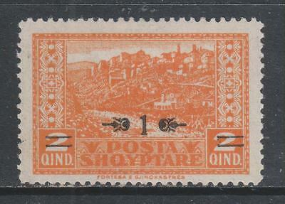 """ALBANIA - 1924. Surcharged """"View"""" - """"1"""" on 2q. Orange, MH"""