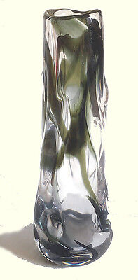 Whitefriars Art Glass Knobbly Streaky Green Vase