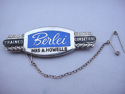 """Vintage Hallmarked Silver Badge """"BERLEI"""" Trained Corsetiere, With Safety Chain"""