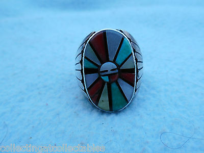 Sterling Silver Native American Ring With Multi coloured Stones 17.6 grams
