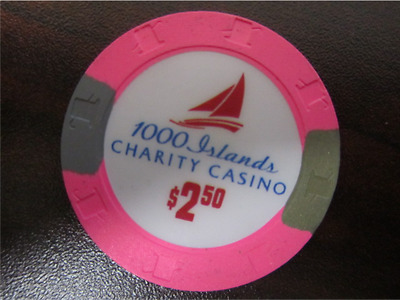 $2.50 1000 ISLANDS CHARITY CASINO Poker Pink Gaming Chip