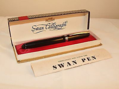 Vintage Mabie Todd Swan Leverless Calligraph Fountain Pen - Boxed With Papers