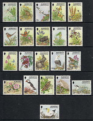 ALDERNEY 1994/98 FLORA & FAUNA DEFINITIVE SET of 21 MNH