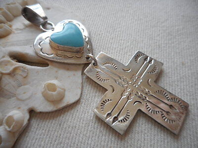 Vintage Mexico Taxco Sterling Silver Turquoise Heart Stamped Cross Pendant   568