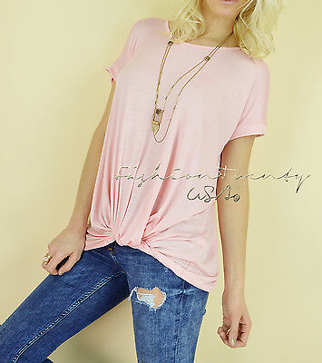 NEW Pink TWISTED KNOT Long Loose Tunic Relaxed Casual Knit Womens T-shirt Top S