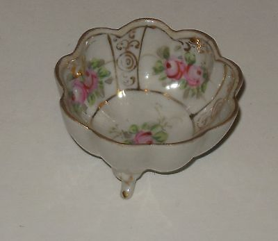 Vintage Porcelain Open Salt Dip Cellar Eggshell Pink Green Gold Trim Footed