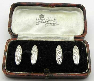 Antique Solid Silver Cufflinks, Chester 1907, By J&R, Box Included.