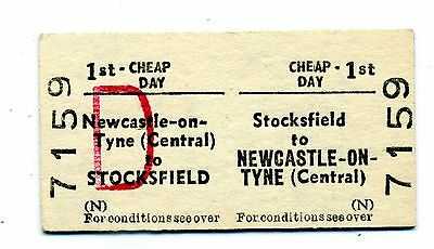 Railway ticket BRB Stocksfield to Newcastle on Tyne (Central).