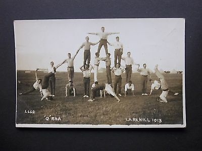 "Wiltshire Military Camp ""Q"" RHA Larkhill 1913 Real Photo Postcard unposted"