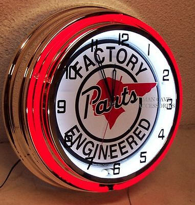 "18"" PONTIAC Factory Engineered Parts Sign Double Neon Clock"