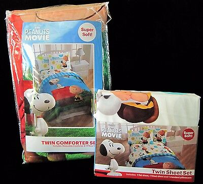Peanuts Movie 5 Pc Twin Comforter & Sheet Bedding Set- Charlie Brown & Snoopy