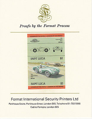 St Lucia (2094) - 1984 Cars #2 Aston Martin  imperf on Format Int PROOF  CARD