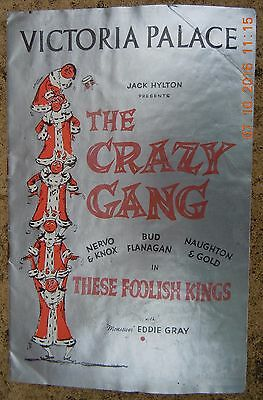 Victoria Palace Theatre Programme - The Crazy Gang - These Foolish Kings - 1956