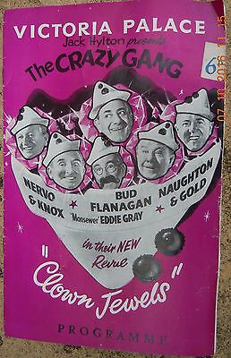 Victoria Palace Theatre Programme - The Crazy Gang - Clown Jewels - March 1959