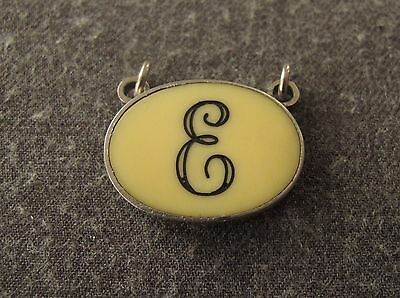 Vintage 70's Engraved Blue E Letter Creamy Lucite Inlaid Chromed Metal Pendant