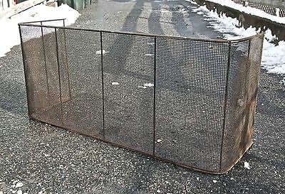 """Antique English or American Wire wrought Iron Fireplace Fender Fire Screen 49"""""""