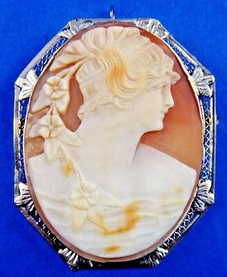 Antique Art Deco 14k Solid White Gold Cameo Pin/Brooch Pendant